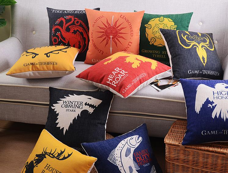 Game of Thrones linen cushion cover Decorative wedding hotels office sofa Throw Pillow Cushion case Home Textiles 17.7x17.7