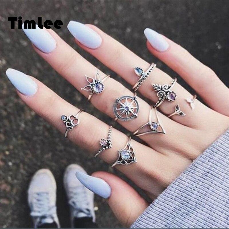 Timlee R017  New Simple  Retro Rhinestone Leaf  Crown Rudder Finger Rings Set ,9pcs/set Fashion Jewelry Wholesale HY