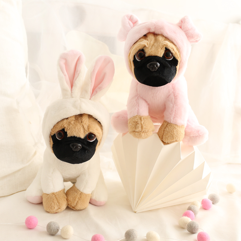 1pc 20cm delicate pug dog become rabbit dinosaur super cute cartoon plush doll novelty romantic birthday stuffed toy 90cm large stuffed plush rabbit toy korea long arms rabbit soft doll super cute