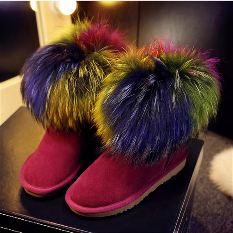 Rabbit Fur Colorful Round Toe Slip On Fashion Women Snow Boots Ankle High Flat Winter Warm Boots Big Size Casual Female Booties front lace up casual ankle boots autumn vintage brown new booties flat genuine leather suede shoes round toe fall female fashion