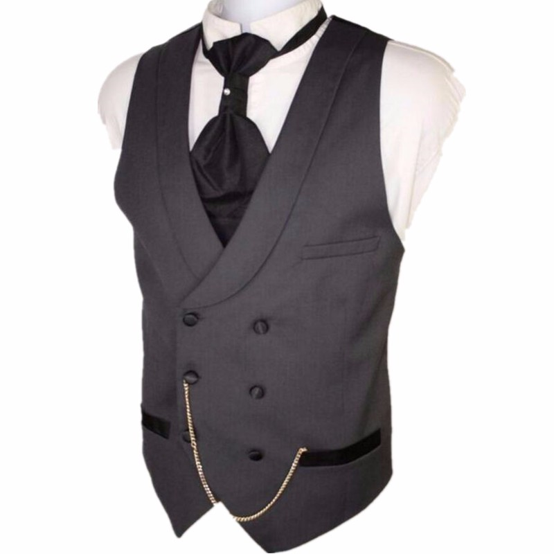 3.1 Custom Made Dark Gray Men Suit Vests Slim Fit Formal Waistcoat For Man Wedding Prom Vest double-breasted