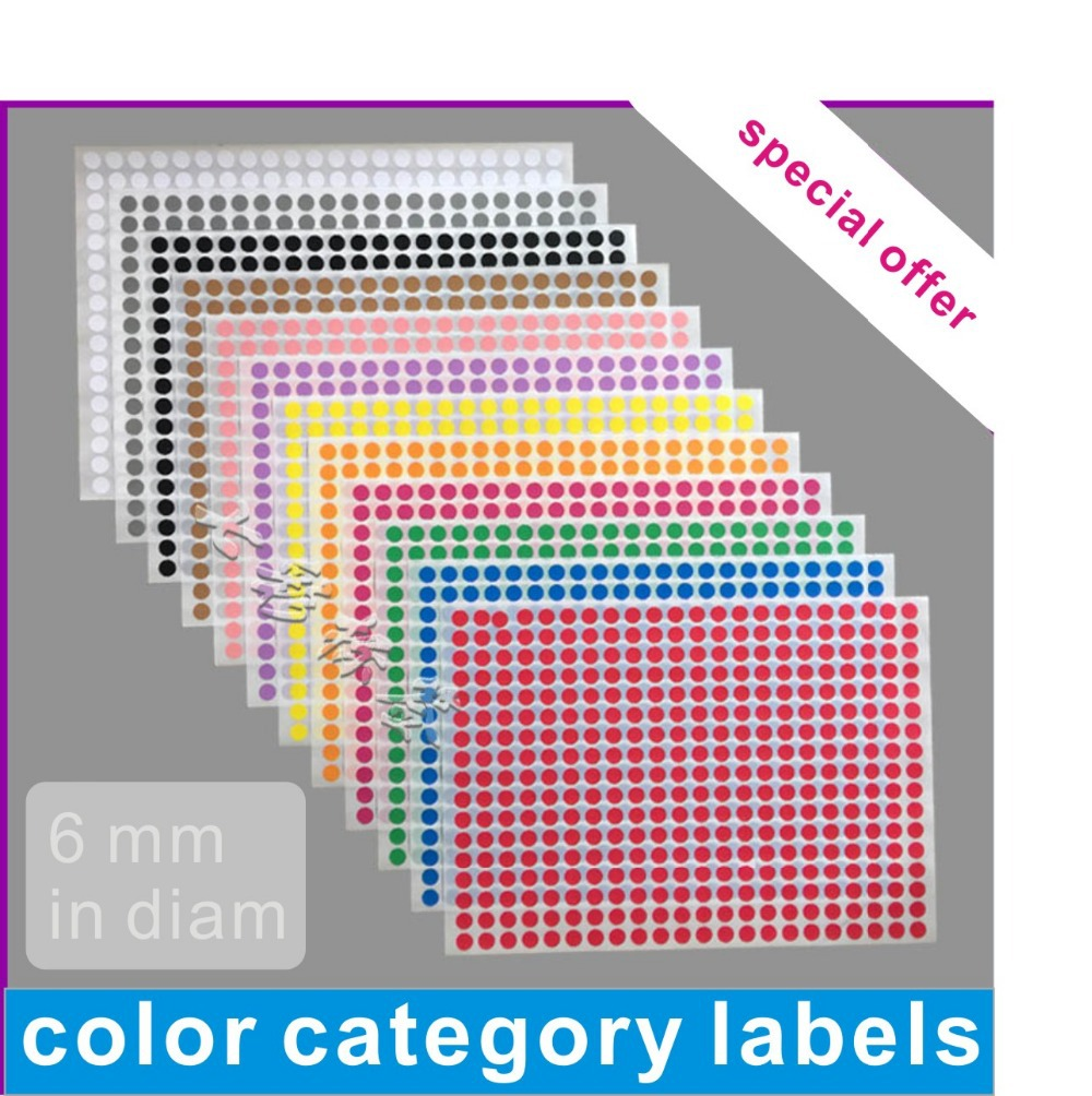 Free Shipping Lovely Stickers Color Dot Label Paper More