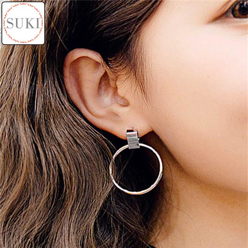 52072a4a1f192 SUKI Boucle d'oreille Punk Round Earrings for Women Big Circle Drop Dangle  Earring Circle Pendant Women Statement Jewelry