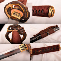 Handmade Casting katana Japanese Samurai Sword T10 steel Ancient forging process Retro fitting Snake Painted wood Copper