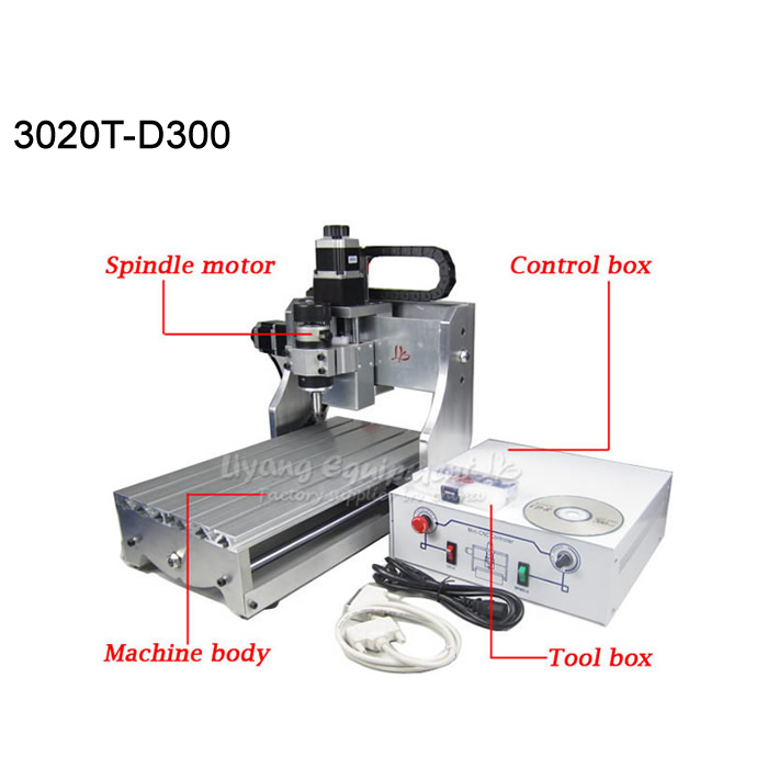 Mini cnc router 3020 3axis cnc milling machine with 300w spindle for wood pcb etc 1610 mini cnc machine working area 16x10x3cm 3 axis pcb milling machine wood router cnc router for engraving machine