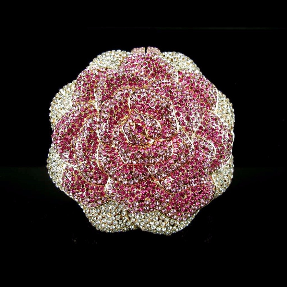ФОТО 5019 Pink / Silver Crystal ROSE Floral Flower Wedding Bridal Party Night hollow Metal Evening purse clutch bag case box handbag