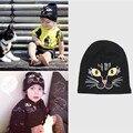 Novo chapéu das crianças mini gato gato preto bordado chapéus do bebê das meninas dos meninos cap casual para crianças 0-7 anos de roupas acessórios