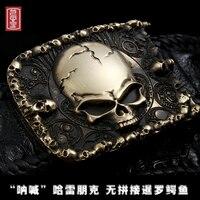 Натуральная кожа крокодила панк Harley череп металл латунь пояса хип хоп ремень для джинсов 3d резьба