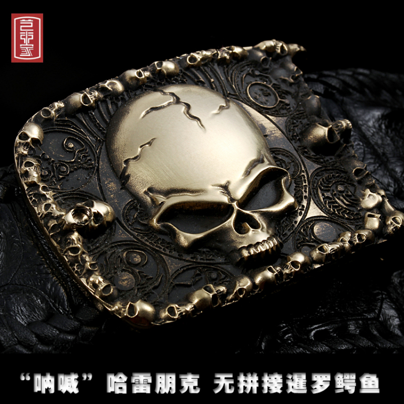 Véritable Crocodile en cuir punk harley crâne en laiton en métal ceinture hiphop jeans ceinture 3d sculpture