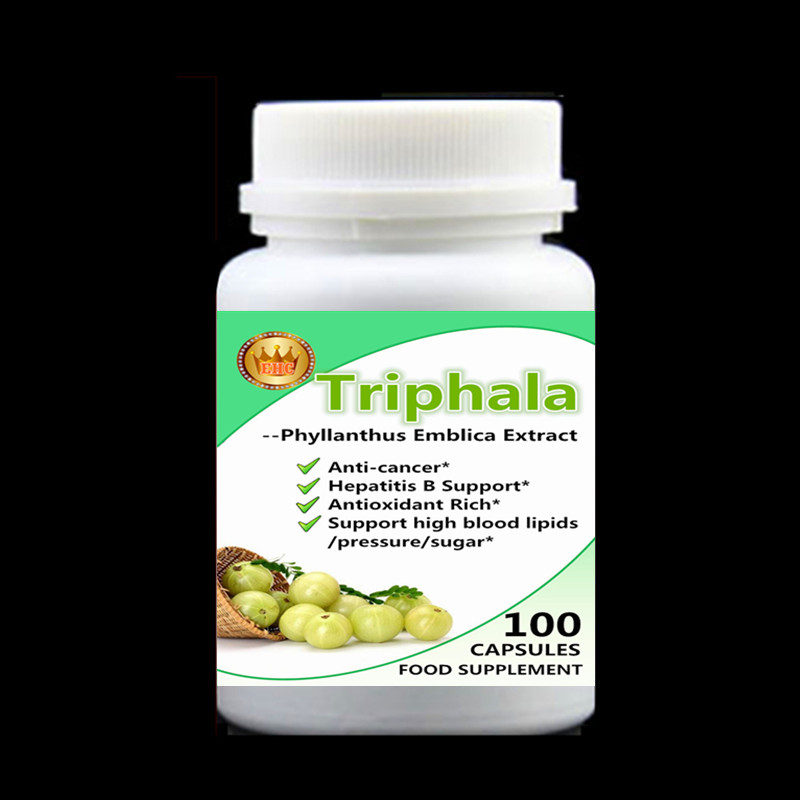 Triphala - Phyllanthus Emblica Extract,Amla,For Gastric Cancer,Hepatitis B Support,Strong Antioxidant Activity - 100Caps/bottle gastric