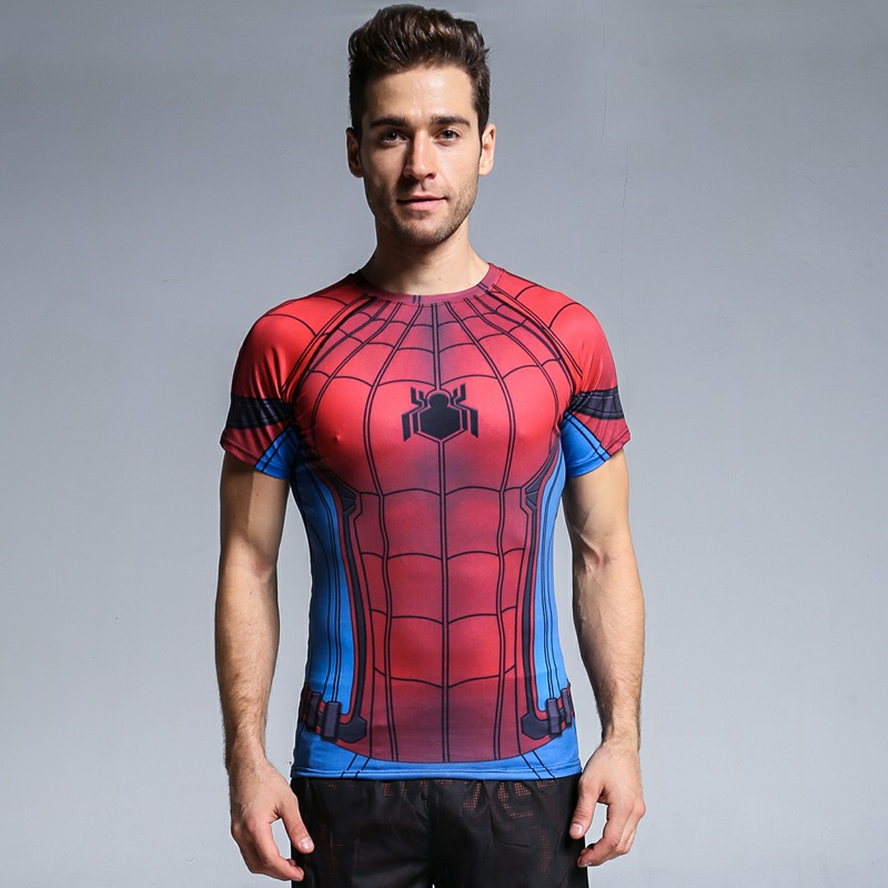 2018 Spider-Man 3D Printed T-shirts Captain America Civil War Tees Short Sleeve Cosplay Halloween Costumes Compression Tops Male