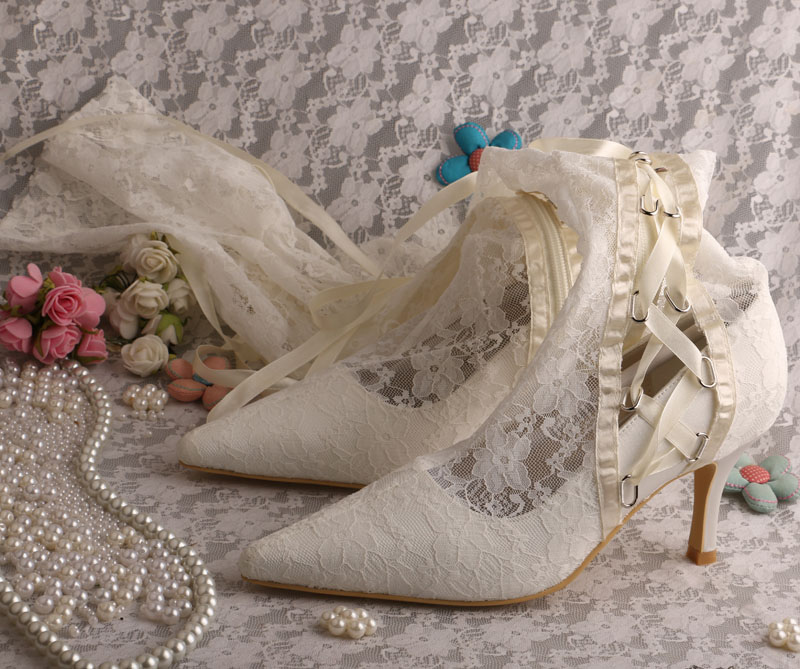 ФОТО Wedopus Wholesale and Retail Female Boot White Lace Wedding Shoes Pointy Toe