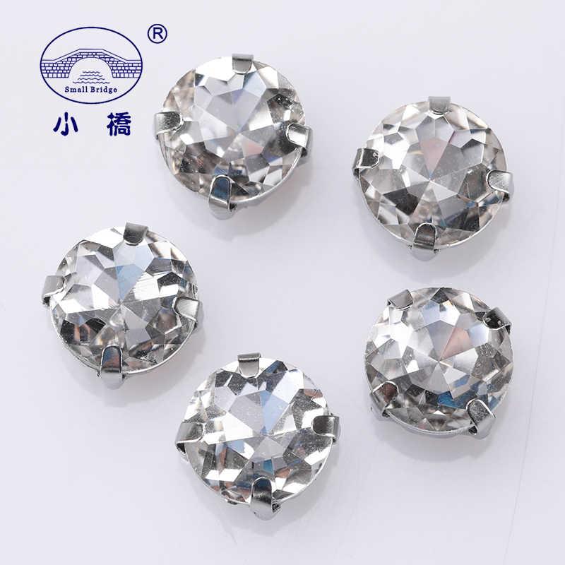 Glitter Bulat Kristal Batu untuk Longgar Pakaian DIY Dekorasi Berlian Imitasi Berwarna Pipih Kaca Jahit Batu dengan Cakar 10 Pcs S074