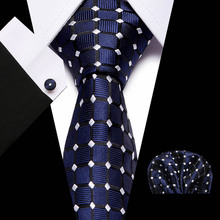 2019 Solid Plaid Tie Hanky Cufflinks Set 100% High Quality Silk Jacquard Necktie Business Men Gifts Deep Blue Color