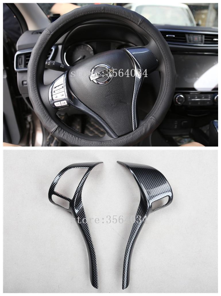 For Nissan qashqai j11 2014 2015 2016 2017 Teana X-Trail carbon fiber steering wheel switch button cap sticker accessories trim