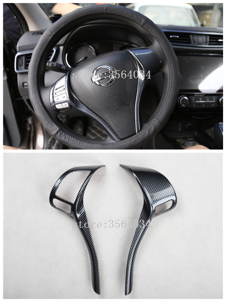 For <font><b>Nissan</b></font> <font><b>qashqai</b></font> j11 2014 2015 2016 <font><b>2017</b></font> Teana X-Trail carbon fiber steering wheel switch button cap sticker <font><b>accessories</b></font> trim image