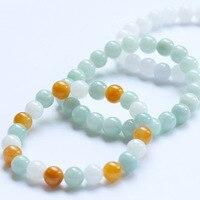 Niveau Een Natuurlijke wit Groen Jadeïet Steen Armband Ronde Kralen Armband Hand String Bangle Gift Voor Vrouwen Stone Jades Sieraden
