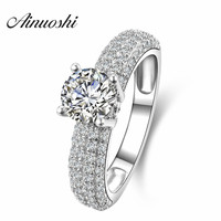 1 Carat Round Cut Fine Silver Sona Simulated Diamond Promise Engagement Rings For Women18K White Gold