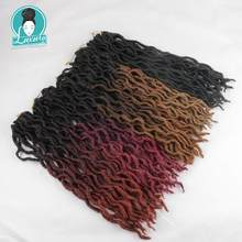 Luxury Braiding Ombre 20 24roots Faux Locs Curly Wavy Crochet Braids Synthetic Dread Bohemian Gypsy Hair Extensions
