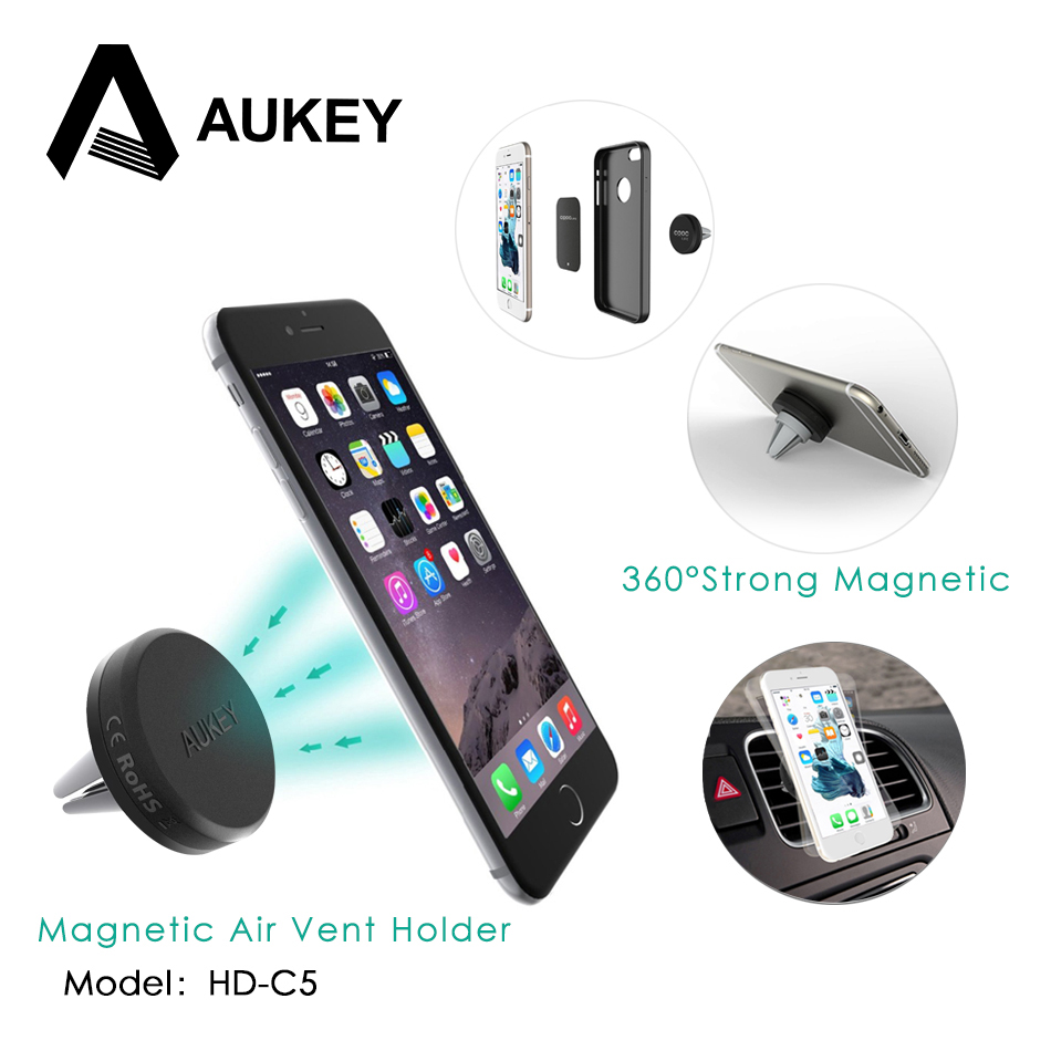 AUKEY Car Phone Holder per Il Iphone 7 6 Sumsung Magnetica Aria Vent Mount Car Holder 360 Gradi Soporte Movil Mobile Car Phone Stand