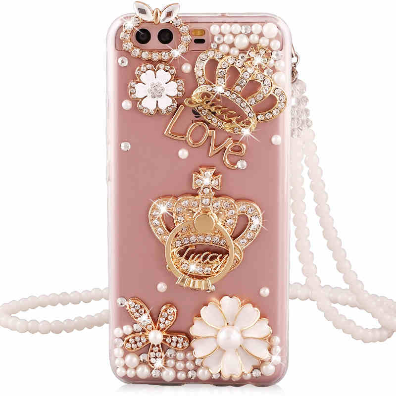 MANDERM case for Huawei P10 rhinestone stand holder back cover for huawei P10 P 10 protective