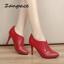 Zanpace Women's Boots Red Leather Shoes Europe Winter Ankle Boots For Women Pinted Toe High Heel Ladies Boots Joker Botas Mujer()