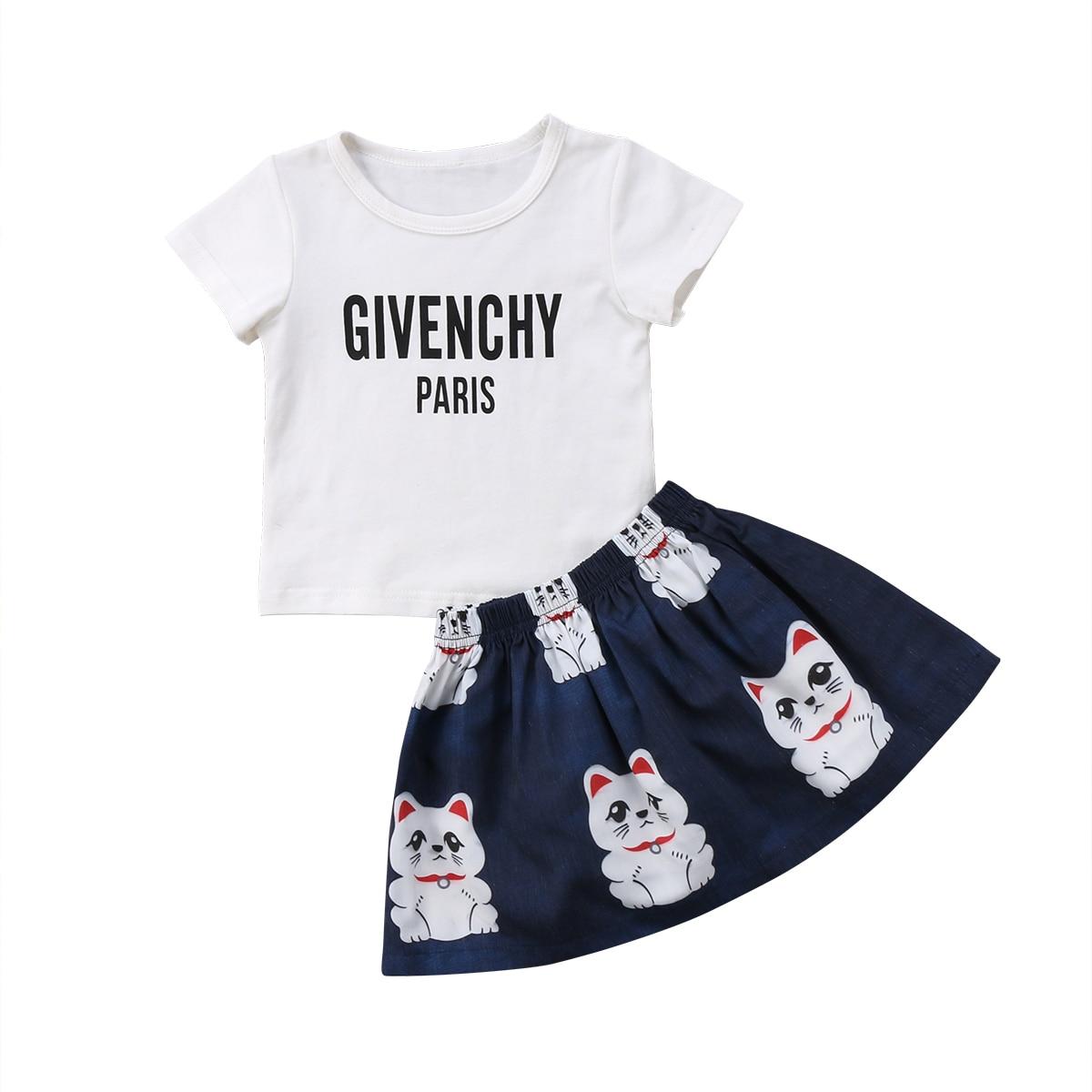 Toddler Kids Baby Girls Cotton Letter T-shirt Tops+Cats Cartoon Pattern Dress Outfits T-shirt Clothes 2PCS Set