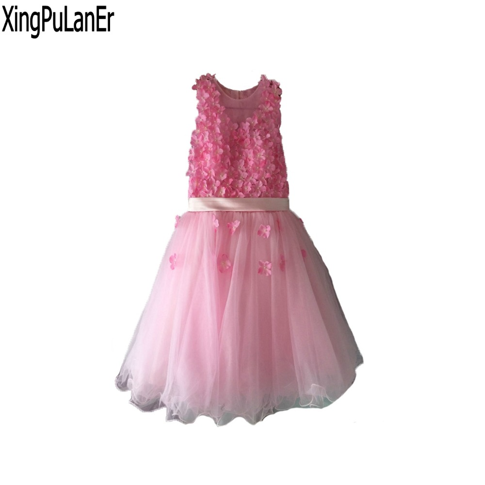 Princess Pink Tulle   Flower     Girls     Dress   Sleeveless A Line Tulle 2017 First Communion   Dresses   Kids Pageant   Dress   with 3D   Flowers