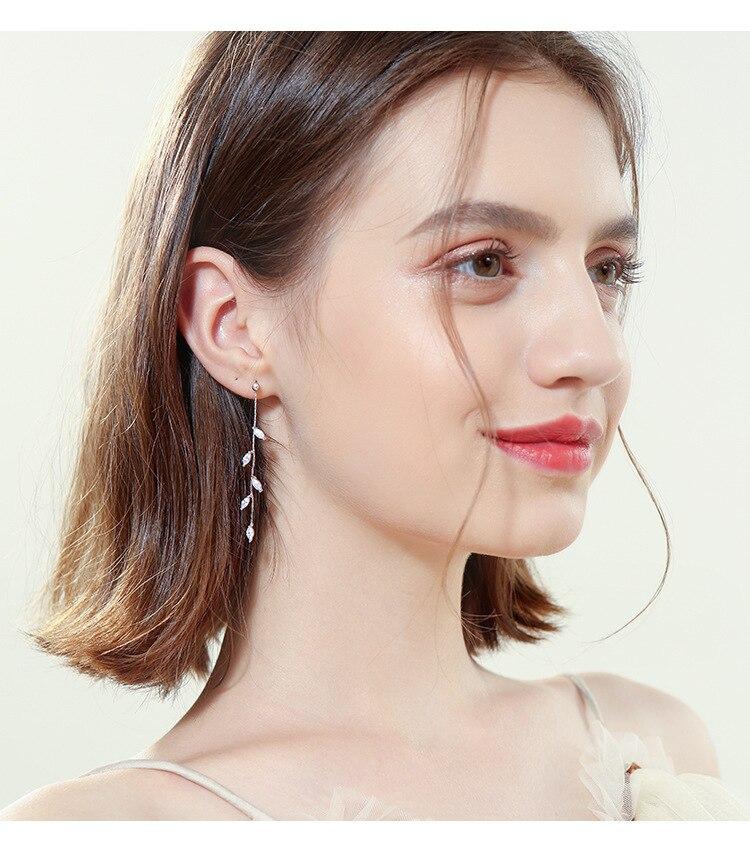 100% 925 Solid Real Sterling Silver Crystal Leaf Tassel Drop Earrings for Women Girls pendientes brincos eh962 1