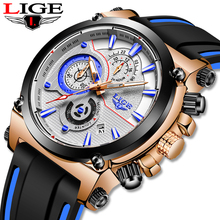 LIGE New Blue Leather Mens Watches Top Brand Luxury Fashion Quartz Wrist Watch For Men Sport Waterproof Date Clock Reloj Hombre недорого