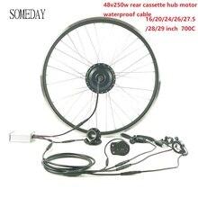 Когда-нибудь 48V250W Набор для преобразования электрического велосипеда с LED900S задняя часть электровелосипеда кассета ступицы колеса двигателя весь водонепроницаемый кабель