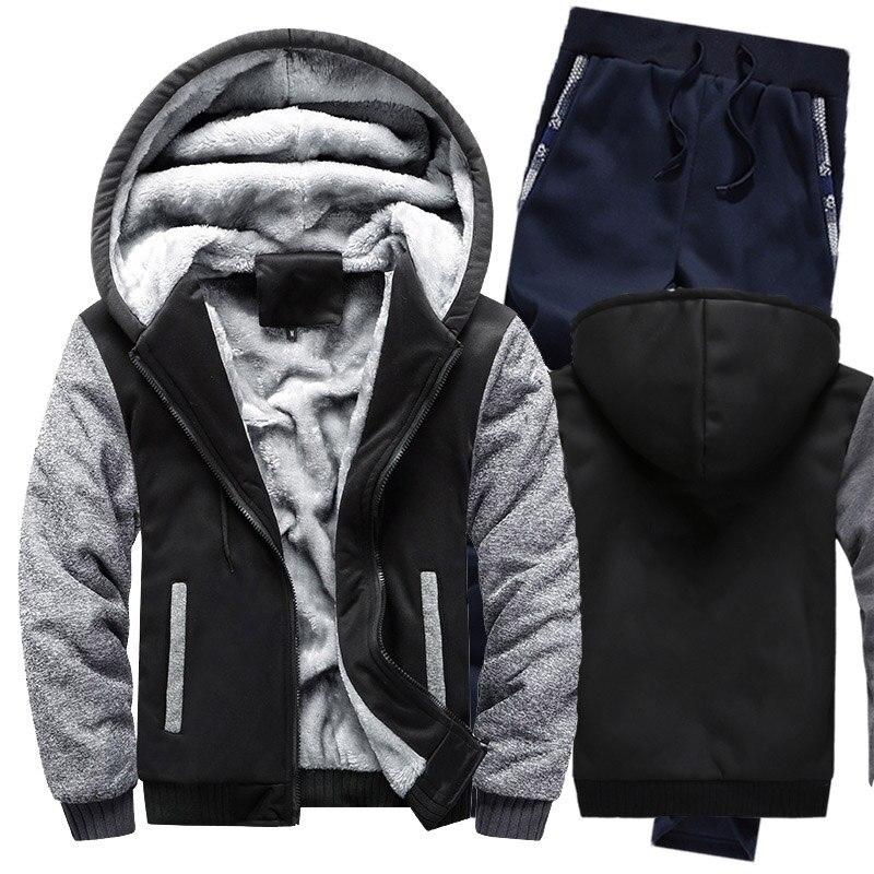 Winter Hoodies Men Camouflage Raglan Mens Hoodies Suit Thicken Warm Fleece Cotton Zipper Tracksuit Mens Jacket+Pants 2Pcs Sets