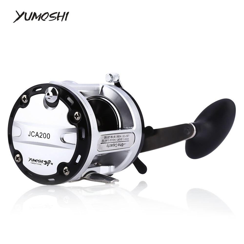 YUMOSHI moulinet de pêche JAC200/300/400/500 poignée droite roue 12 + 1BB 13 roulements à billes en fonte tambour matériel de pêche leurre Pesca