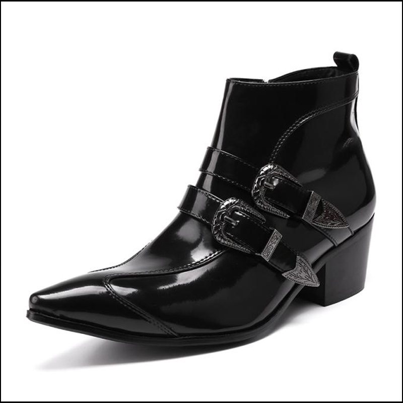 d2a742226bb Plus Size Pointed Toe Monk Straps Man Handmade Cowboy Martin Shoes Patent Leather  High-Top High Heels Men s Ankle Boots SL109