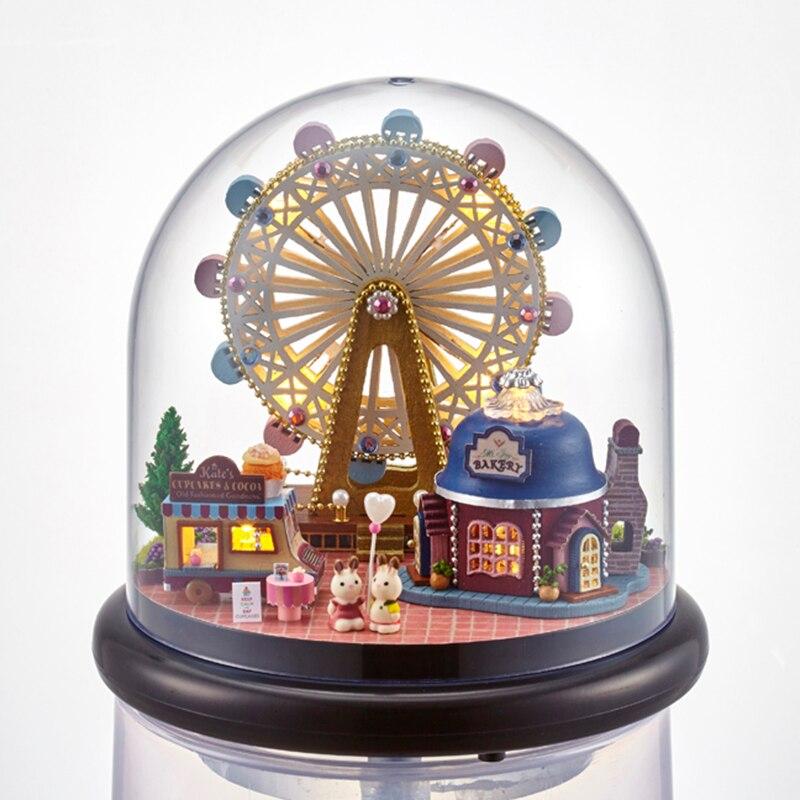 glass form furniture. furniture diy doll house wodden miniatura houses kit glass cover assemble dollhouse toys for children gift b23 form i