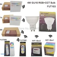 MiLight GU10 4W RGB CCT LED Bulb Spotlight FUT103 110V 220V Full Color Remote Control Smart