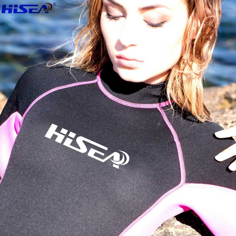 b1313c6674f ... Hisea Professional 3 mm Women Neoprene Wetsuit Diving suit Equipment  One Pieces full bodysuit Warm surfing ...