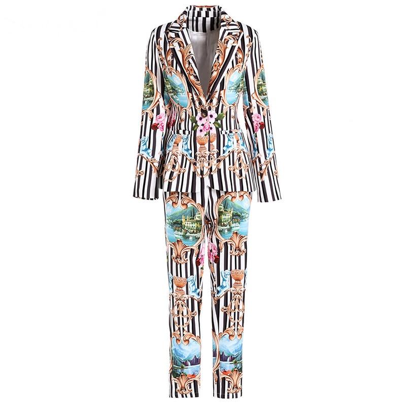 Noir Mode Blazers Multi Deux Automne Blanc Pièces Supérieure Designer Floral Femmes Qualité Ensemble Hiver De Pantalon Rayé Print Svoryxiu PU4xwCvn