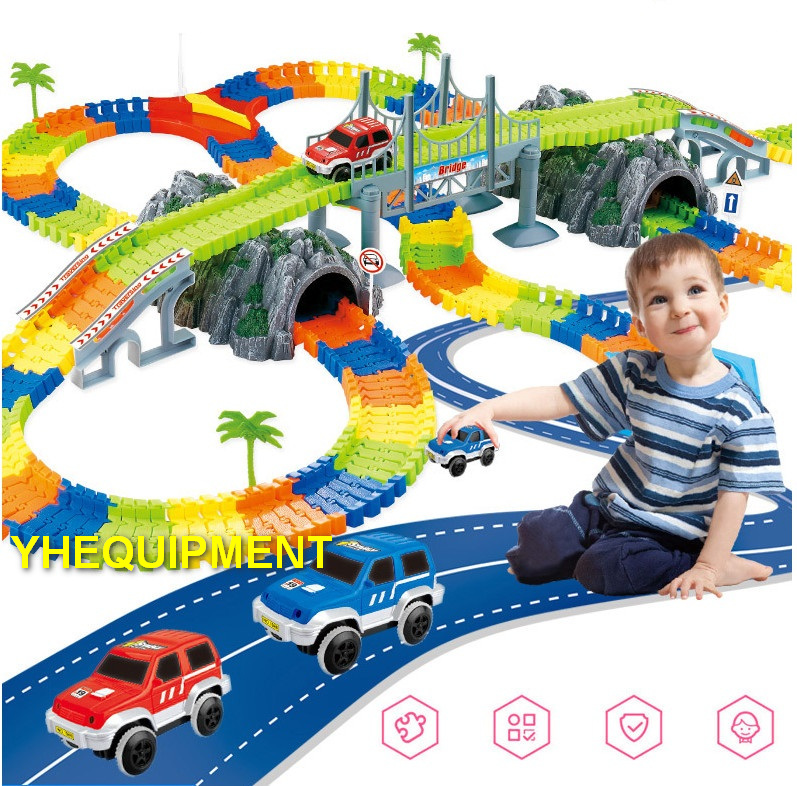 Colorful ASB Plastic Blocks Building Construction Toys blocks electric Flexible Track road toys for kids boys gift present