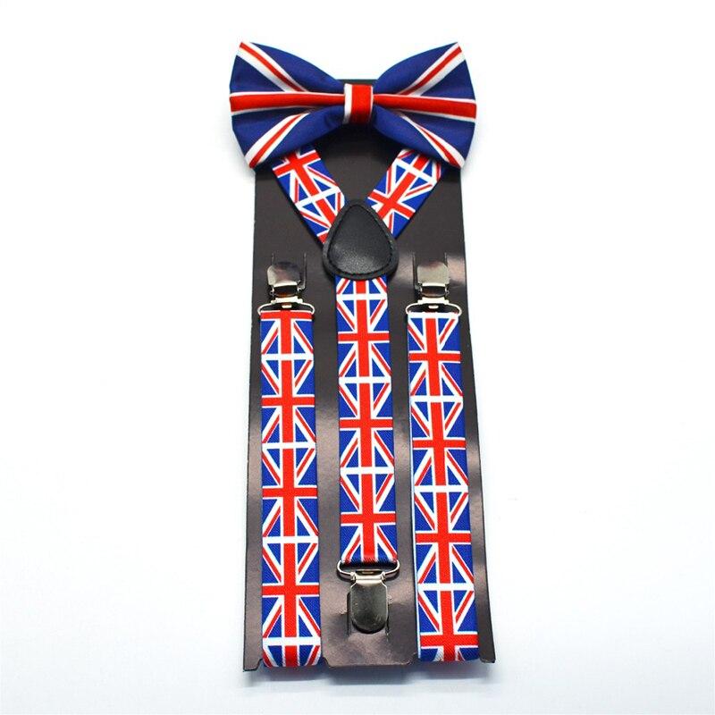 Men's Tie Suspenders Set Vintage Style Fashion 2.5 Cm Width Elastic Y- Shape Butterfly Bow Tie Adult Size