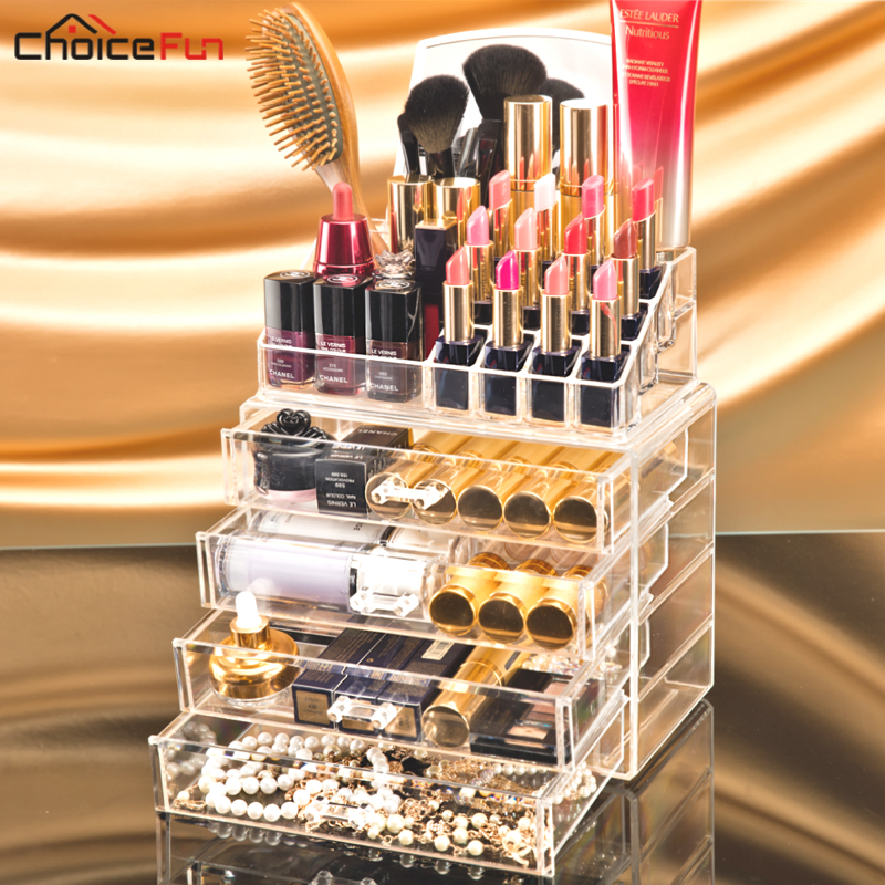 CHOICEFUN Inicio 4 Cajones Gran Caja de Almacenamiento de Lápiz Labial Claro Acrílico Transparente Maquillaje Cosmético Maquillaje Organizador Con Espejo