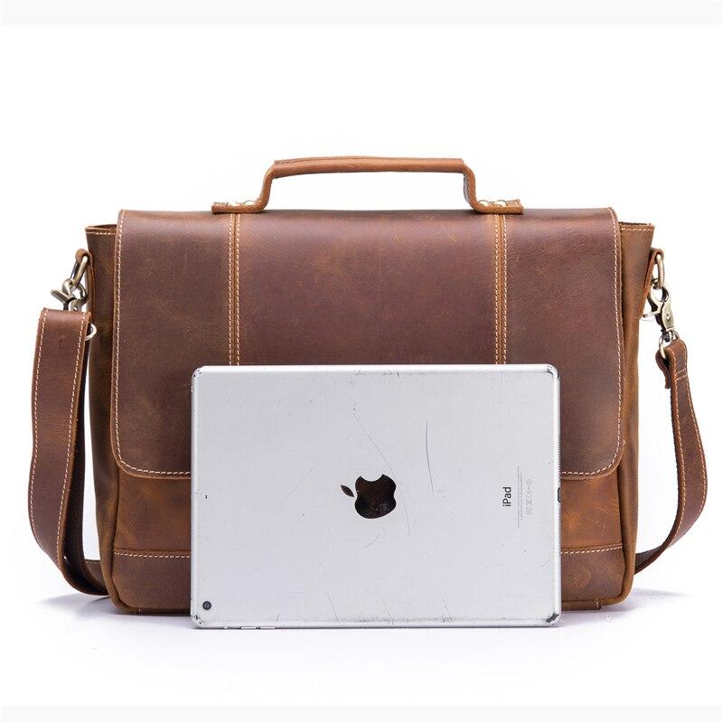 Мужской портфель из натуральной кожи из воловьей кожи в стиле ретро, мужская повседневная сумка мессенджер, сумки Bolsa, деловая сумка через плечо для мужчин - 3