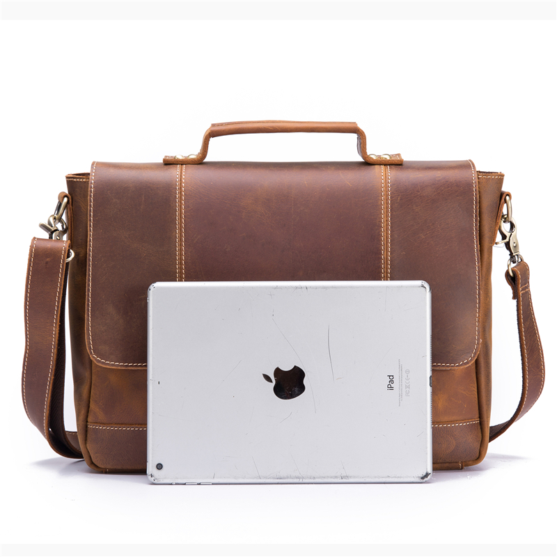 Echt Leer Mannen Aktetas Koeienhuid Retro Mannelijke Toevallige Messenger Bag Handtassen Bolsa Zakelijke Schoudertas Cross Body Tas Voor Man - 3