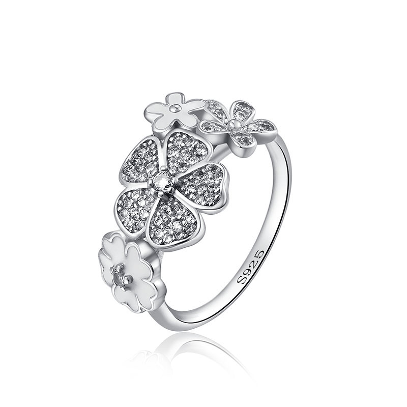 12 Style Silver Ring Charms Butterfly Red Heart Stone Silver Flower Lock Ring Fit Women Party Gift in Rings from Jewelry Accessories