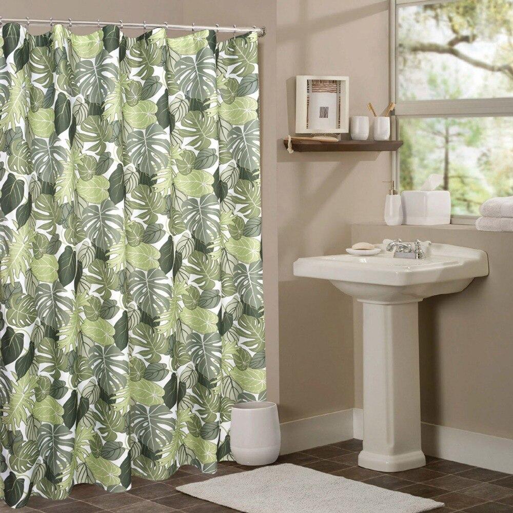 BBJ Vert Rideaux De Douche Imprimé Plante Verte Salle De Bains - Plante verte pour salle de bain