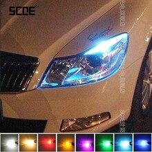2XT10 LED W5W Car LED Error Free Auto Lamp 12V Light Bulbs 12SMD For Skoda Octavia RS Rapid Fabia Yeti Octavia A5 A7 Car Styling