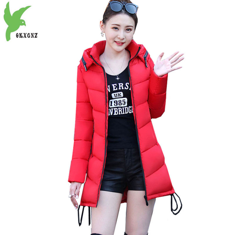 Women Winter Jacket Coats Down cotton Parkas Fashion Hooded Cotton jackets Plus size Medium length Coat Thick warm parkas OKXGNZ 2017 winter women coat warm down cotton padded jacket thick hooded outwear plus size parkas female loose medium long coats
