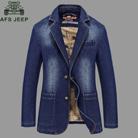 Afs Jeep 2017 Brand New Denim Jacket Men Single Breasted Turn Down Collar Jeans Coat Male