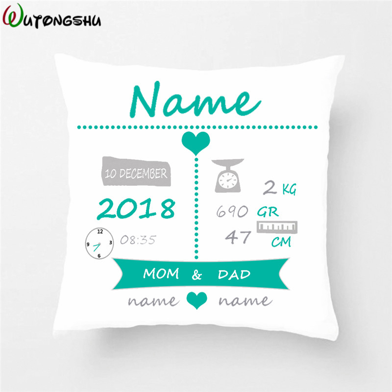 Baby Birth Announcement Pillow Cases Personalized Birth Stats Throw Pillow Cover New Baby Birthday/Christmas Gift Nursery Pillow