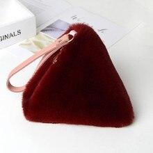 Nieuwe Casual Rex Konijnenbont Imitatie Pincet Zak Pluche Tas Casual Warm Winter Casual Clutch Bag Kerst Cadeau Meisje favoriete